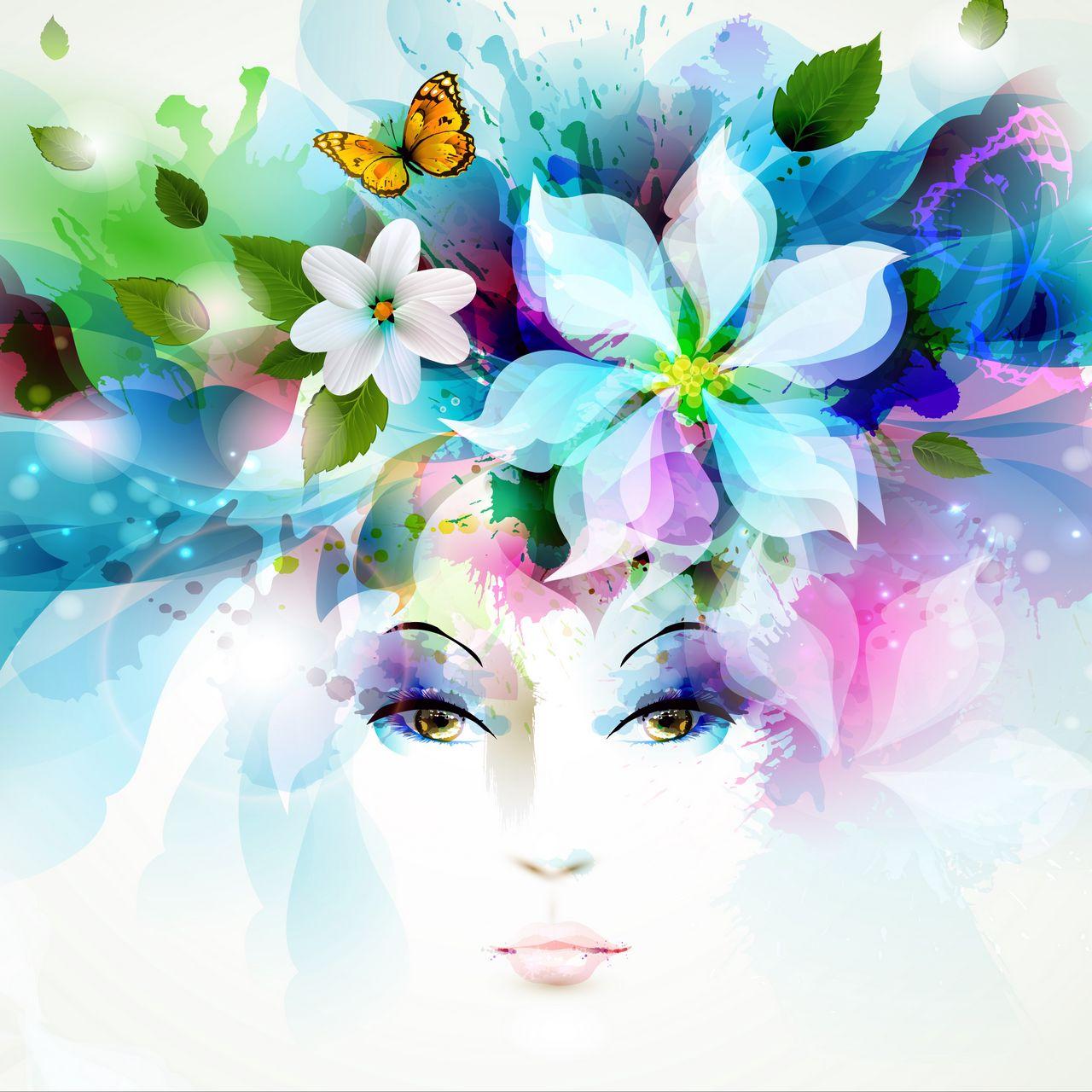 1280x1280 Wallpaper art, girl, eyes, flowers, petals, butterfly, leaves, spray