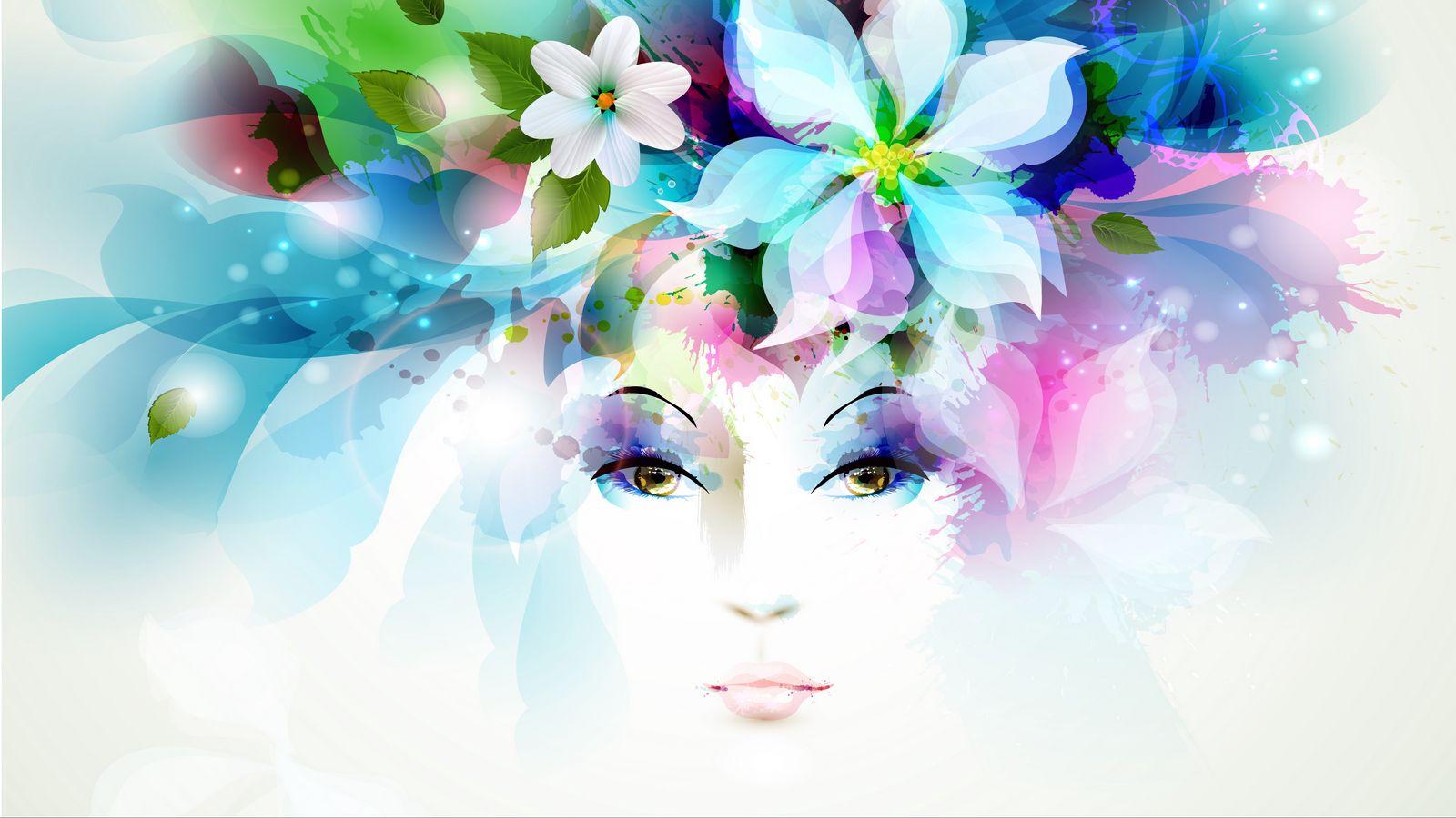 1600x900 Wallpaper art, girl, eyes, flowers, petals, butterfly, leaves, spray