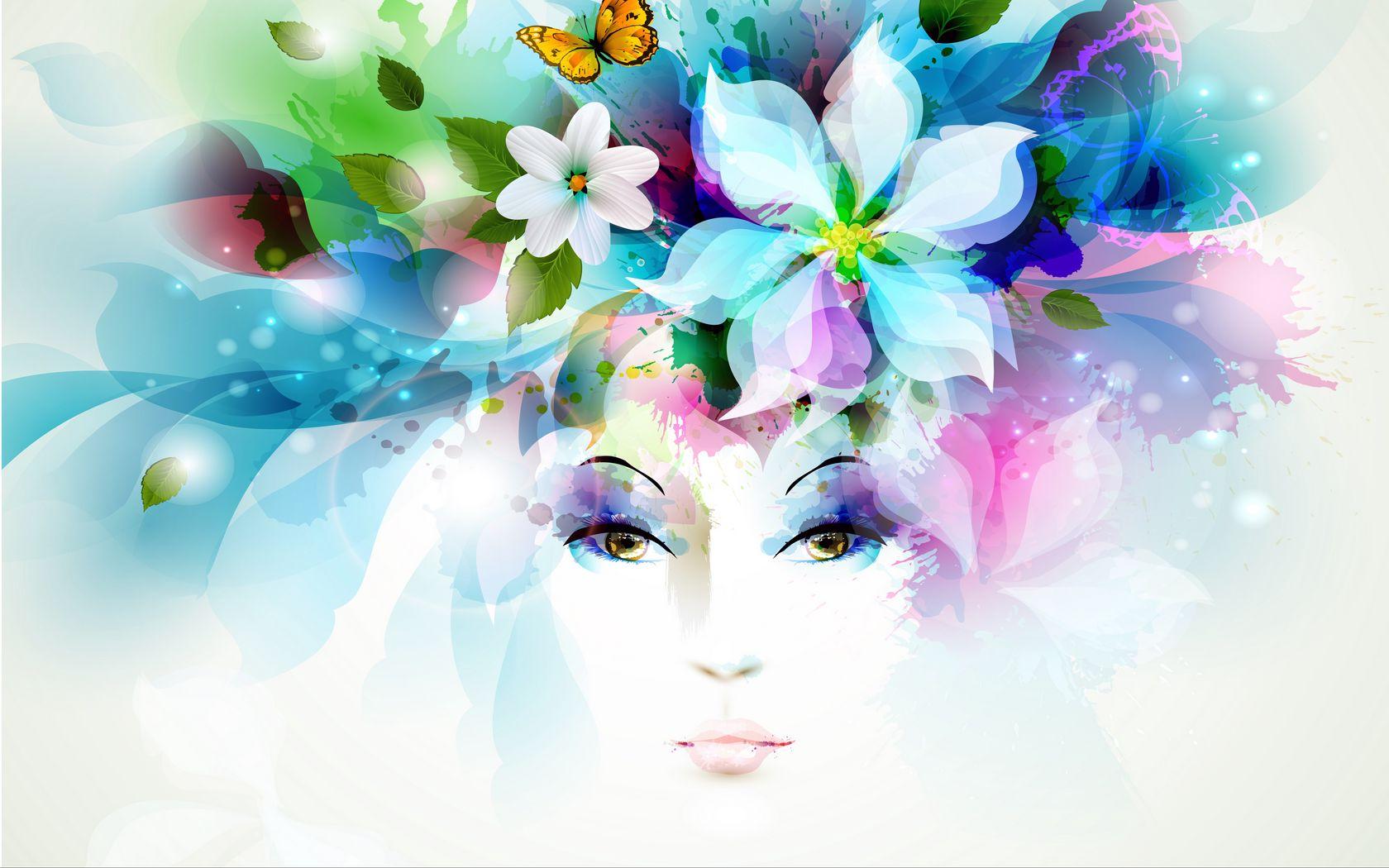 1680x1050 Wallpaper art, girl, eyes, flowers, petals, butterfly, leaves, spray