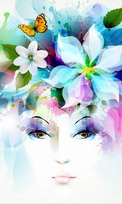 240x400 Wallpaper art, girl, eyes, flowers, petals, butterfly, leaves, spray