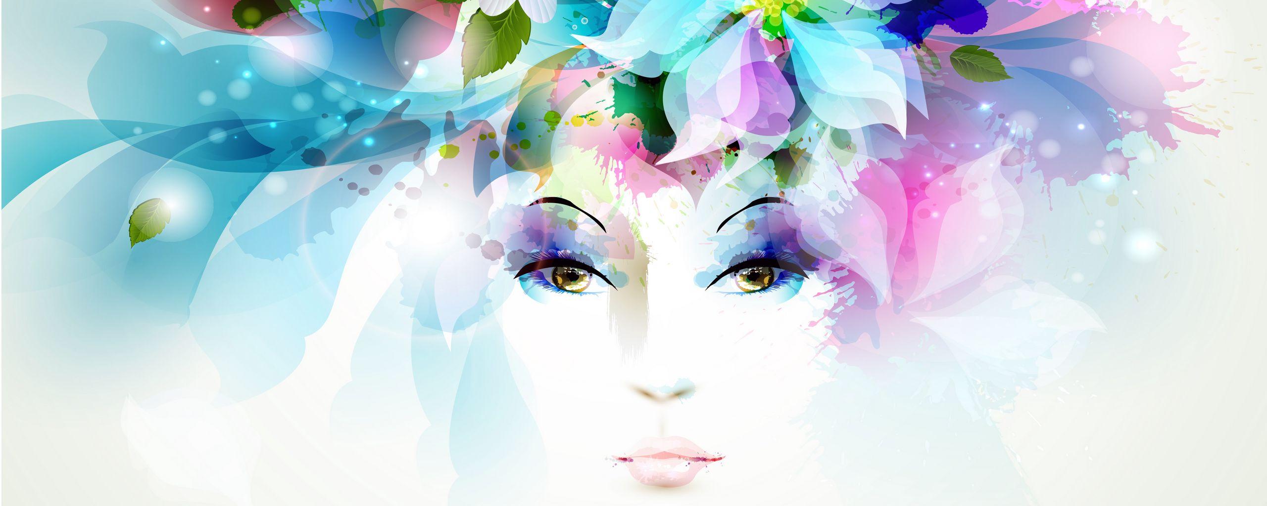 2560x1024 Wallpaper art, girl, eyes, flowers, petals, butterfly, leaves, spray