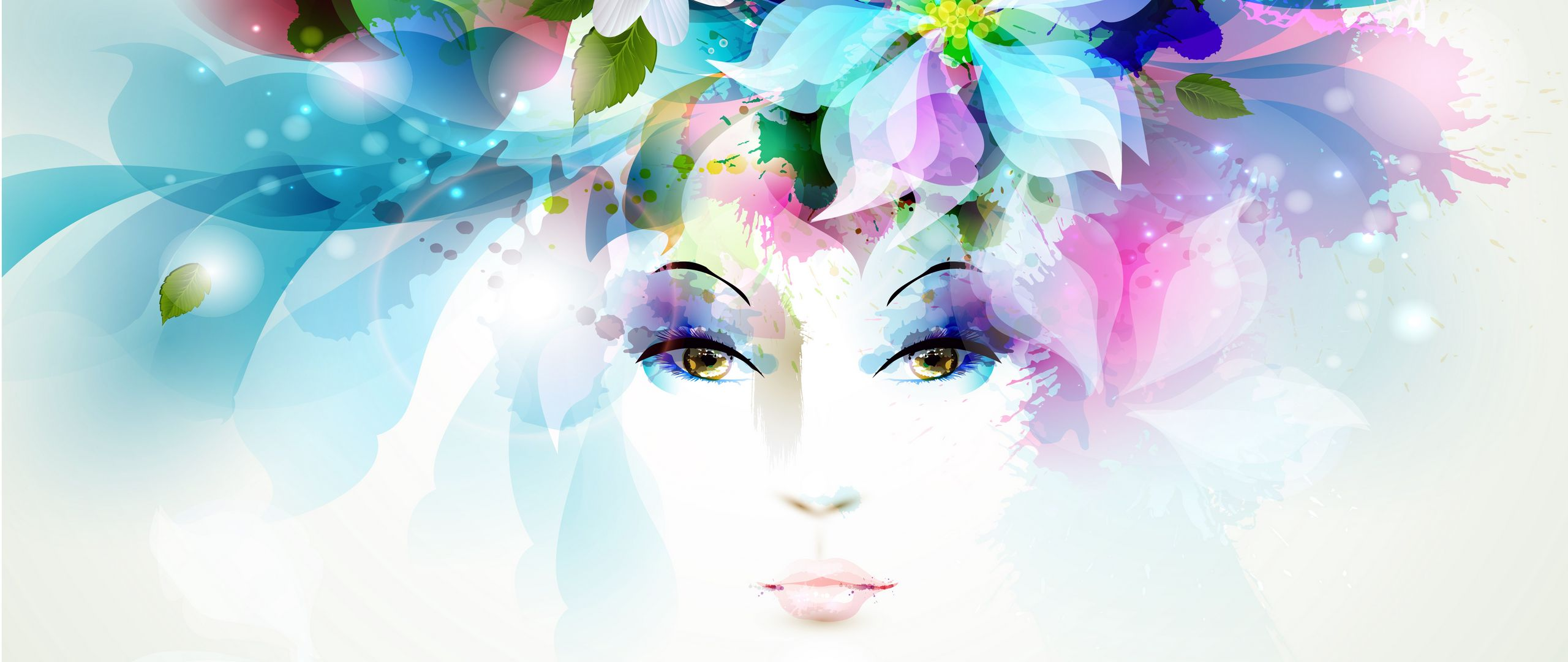2560x1080 Wallpaper art, girl, eyes, flowers, petals, butterfly, leaves, spray