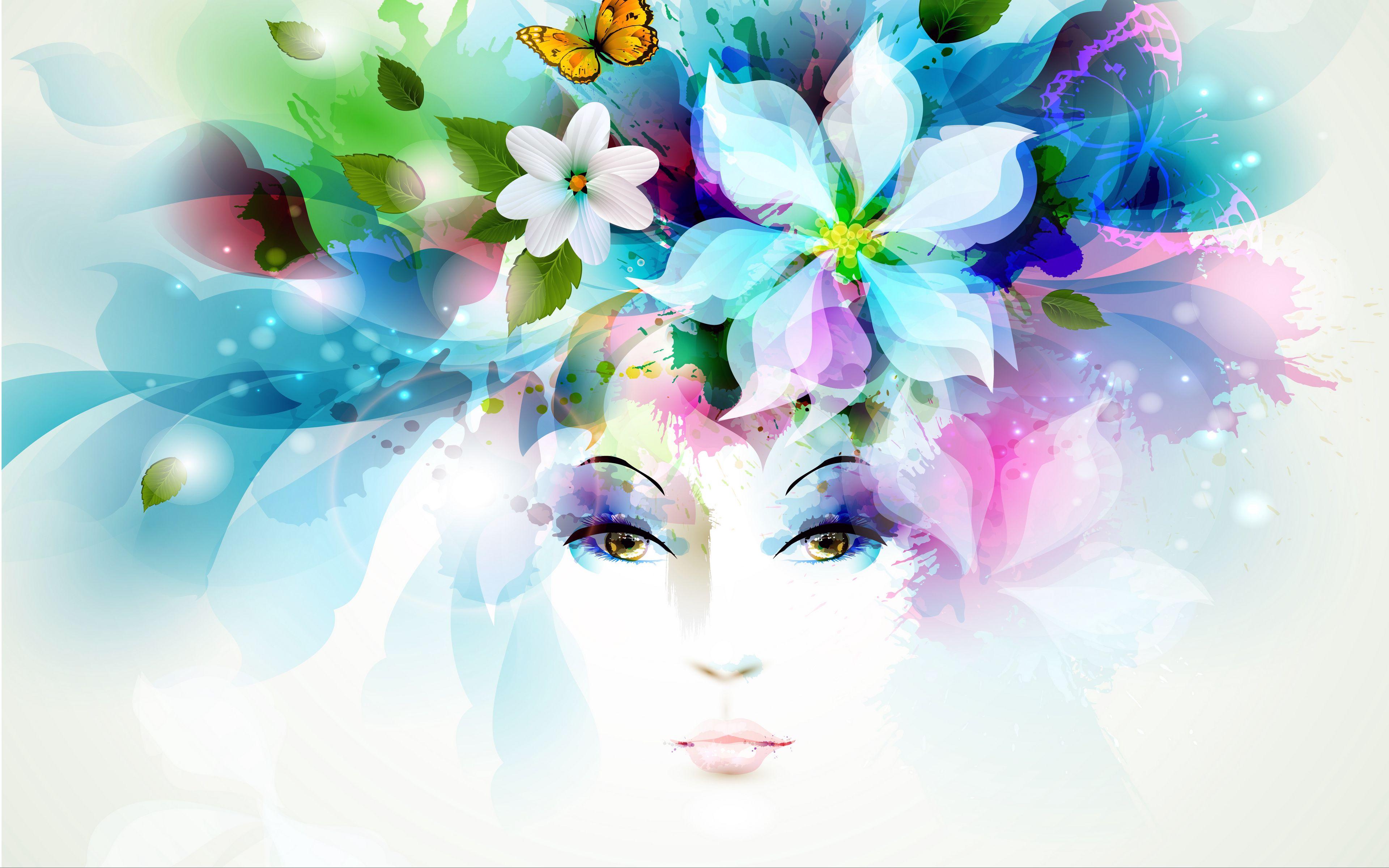 3840x2400 Wallpaper art, girl, eyes, flowers, petals, butterfly, leaves, spray