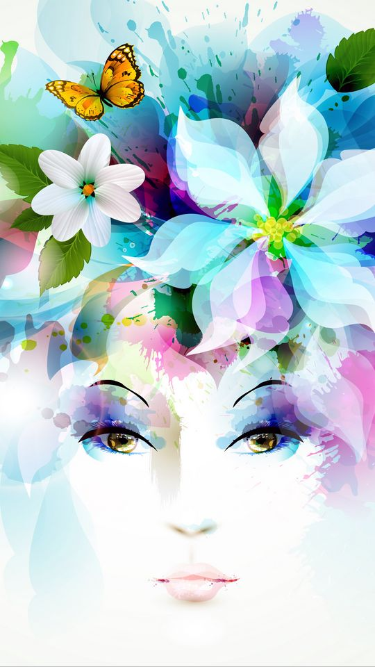 540x960 Wallpaper art, girl, eyes, flowers, petals, butterfly, leaves, spray