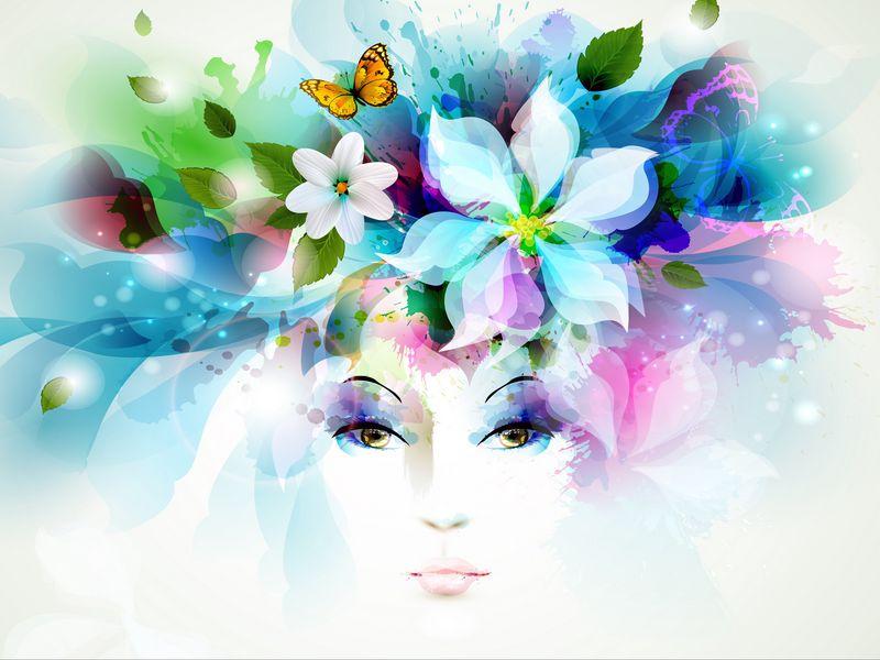 800x600 Wallpaper art, girl, eyes, flowers, petals, butterfly, leaves, spray