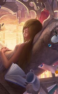 Preview wallpaper art, girl, surreal, dream, toy, bear, mirror, book, lamp beads, arch, castle