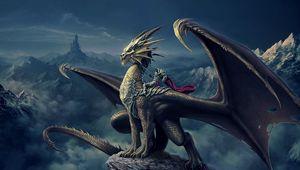 Preview wallpaper art, nick deligaris, dragon, rider, mountain, castle, tower