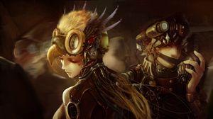 Preview wallpaper art, steampunk, mask, armor, girl, boy