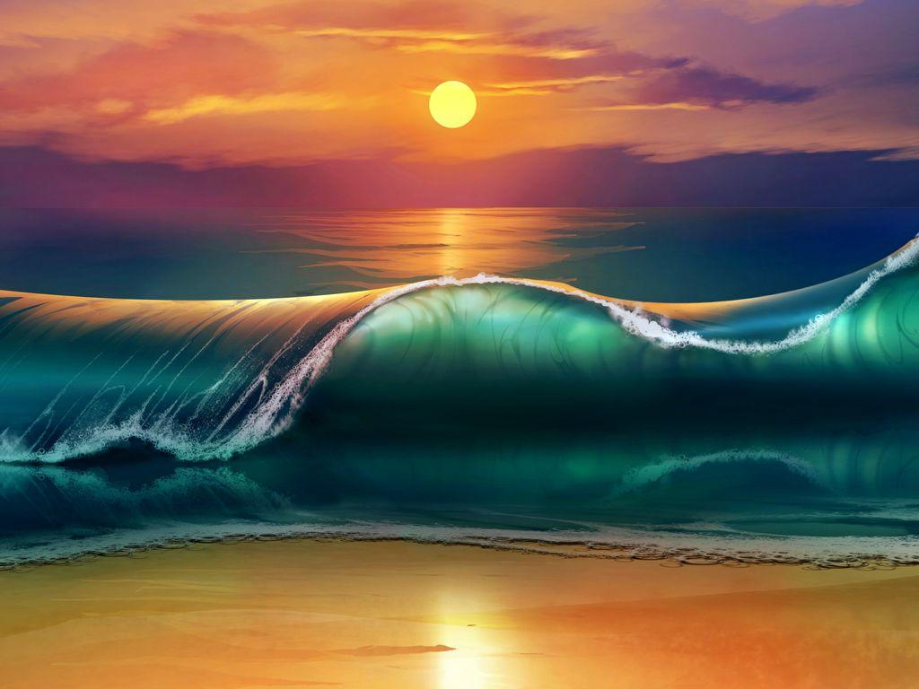 1024x768 Wallpaper art, sunset, beach, sea, waves