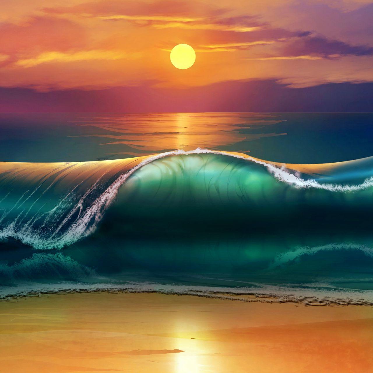 1280x1280 Wallpaper art, sunset, beach, sea, waves