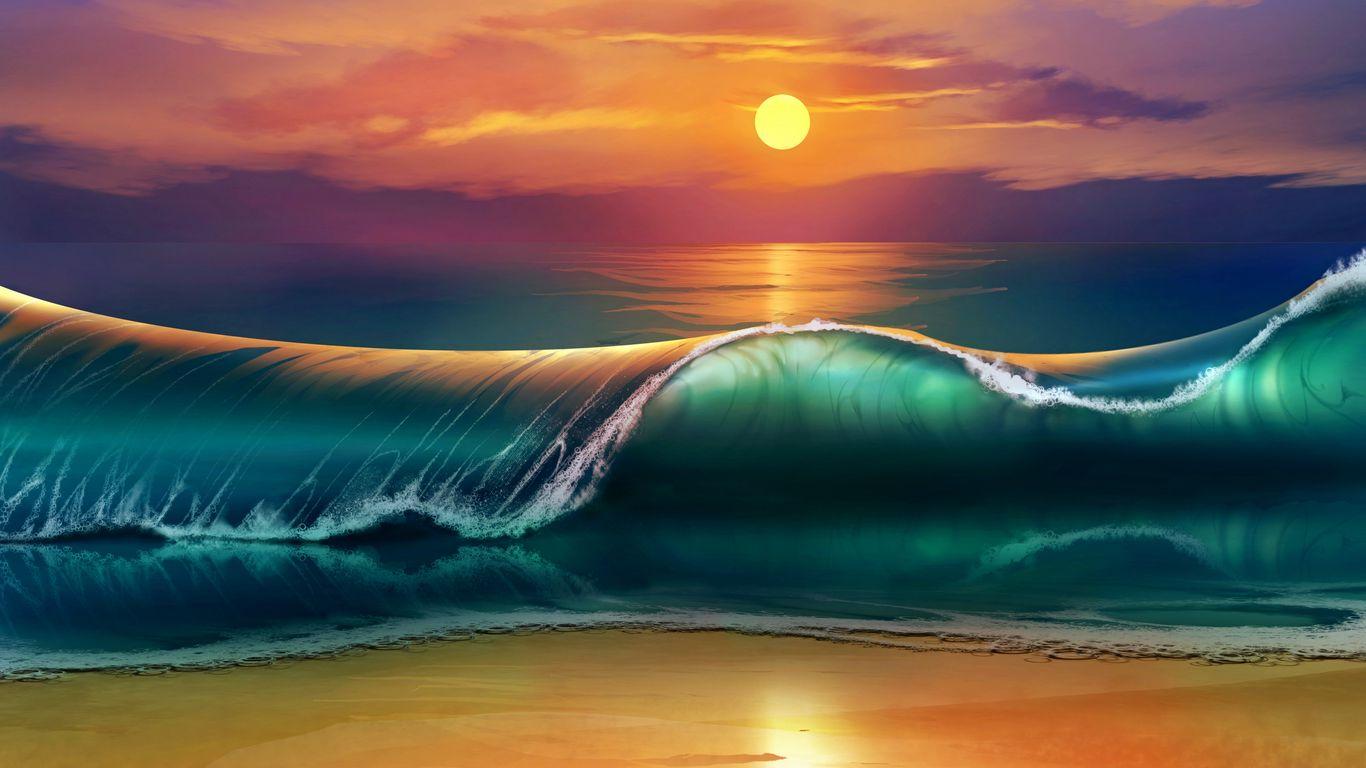 1366x768 Wallpaper art, sunset, beach, sea, waves