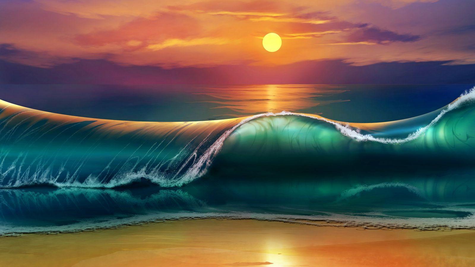1600x900 Wallpaper art, sunset, beach, sea, waves