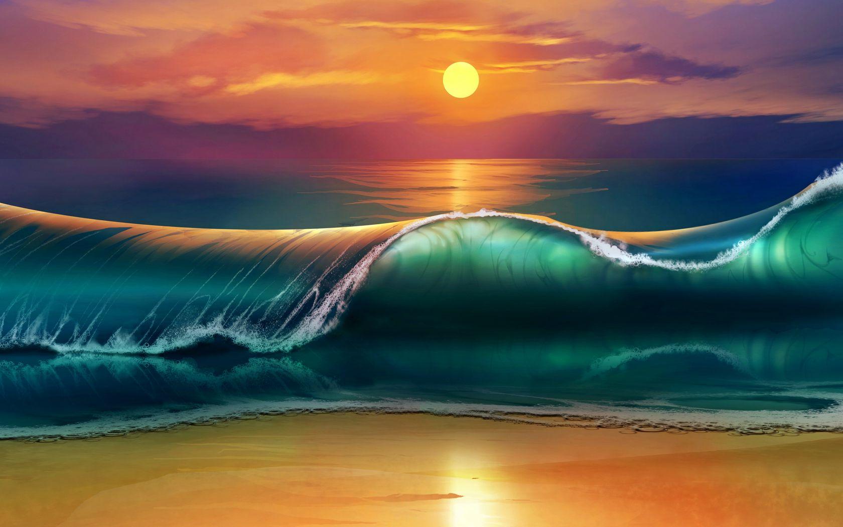 1680x1050 Wallpaper art, sunset, beach, sea, waves