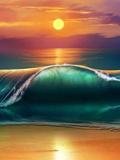 240x320 Wallpaper art, sunset, beach, sea, waves