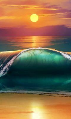 240x400 Wallpaper art, sunset, beach, sea, waves