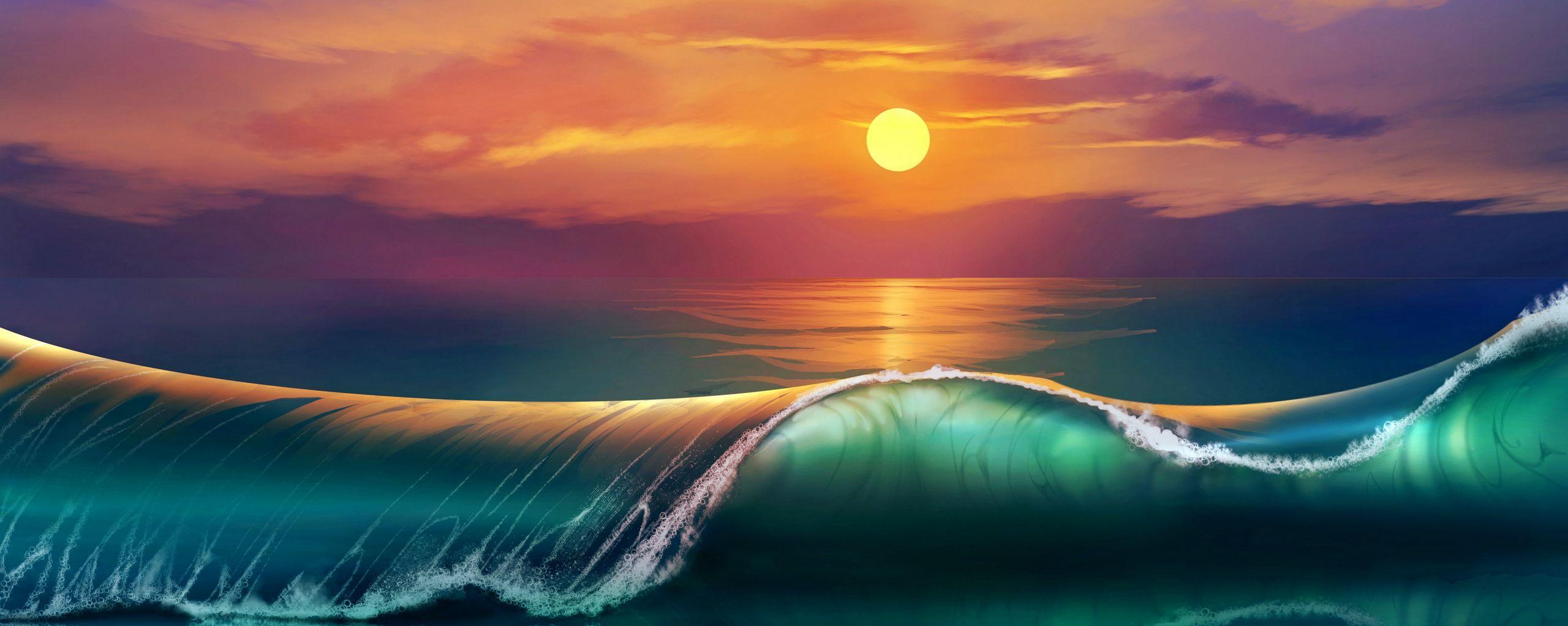 2560x1024 Wallpaper art, sunset, beach, sea, waves