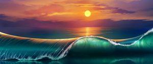 Preview wallpaper art, sunset, beach, sea, waves