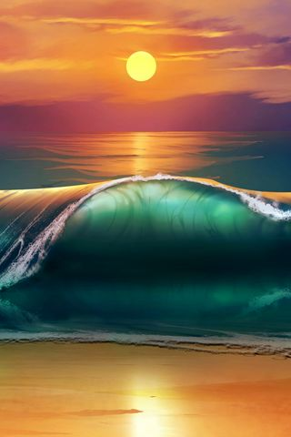 320x480 Wallpaper art, sunset, beach, sea, waves