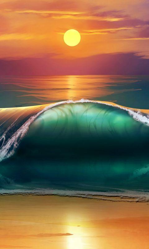 480x800 Wallpaper art, sunset, beach, sea, waves