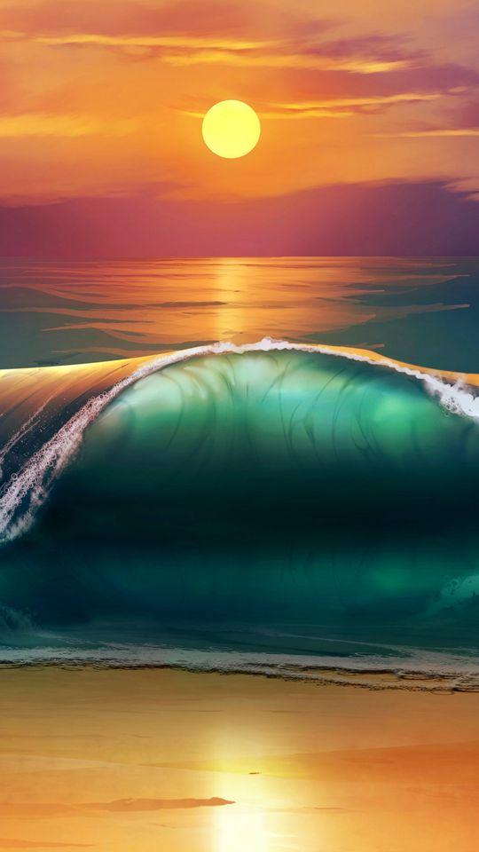 540x960 Wallpaper art, sunset, beach, sea, waves