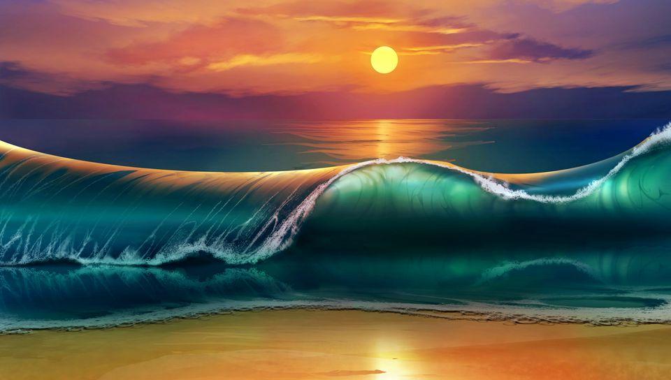 960x544 Wallpaper art, sunset, beach, sea, waves