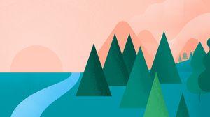Preview wallpaper art, trees, drawing, minimalism