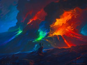 Preview wallpaper artist, waves, colorful, art, fantasy