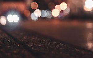 Preview wallpaper asphalt, blur, bokeh, glare, lights