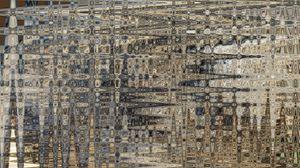 Preview wallpaper asphalt, ice, illustration, wave, white, blue, brown, linen