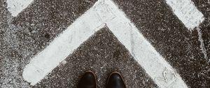 Preview wallpaper asphalt, marking, arrows, feet, shoes