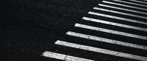 Preview wallpaper asphalt, pavement, marking, stripes, black and white, bw
