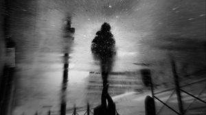Preview wallpaper asphalt, puddle, reflection, wet, silhouette, bw