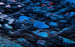 Preview wallpaper asphalt, puddles, reflection