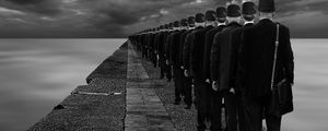 Preview wallpaper assimilation, surreal, people, sea, bw