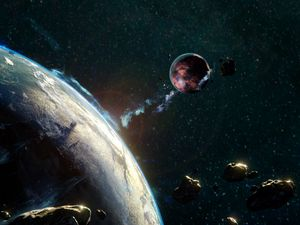Preview wallpaper asteroid, meteorite, space, fall