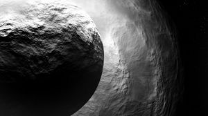 Preview wallpaper asteroid, sphere, stone, space, gray