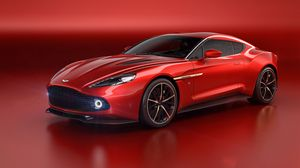 Preview wallpaper aston martin, vanquish, red, side view