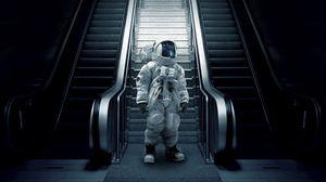 Preview wallpaper astronaut, cosmonaut, spacesuit, escalator, stairs