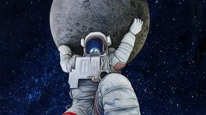 Preview wallpaper astronaut, giant, art, planets, space