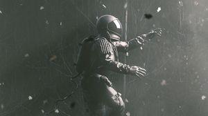Preview wallpaper astronaut, gravity, spacesuit, jump, gray