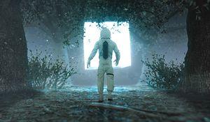 Preview wallpaper astronaut, silhouette, glow, light, portal, 3d