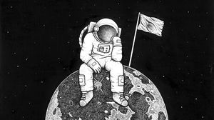 Preview wallpaper astronaut, space, art, planet, drawing, bw