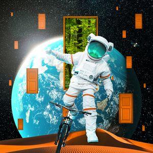 Preview wallpaper astronaut, spacesuit, bicycle, planet, desert, doors