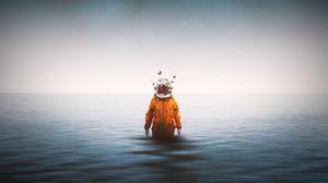 Preview wallpaper astronaut, spacesuit, butterflies, surrealism, sea, horizon