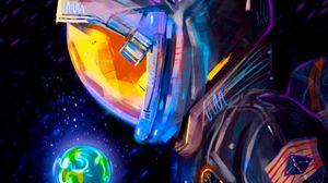 Preview wallpaper astronaut, spacesuit, earth, planet, art