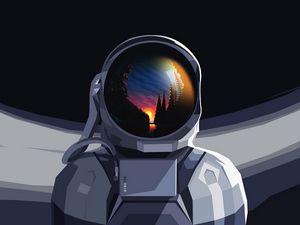 Preview wallpaper astronaut, spacesuit, reflection, sunset, art