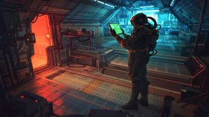 Preview wallpaper astronaut, tablet, space station, sci-fi, art