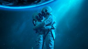 Preview wallpaper astronauts, hugs, love, space