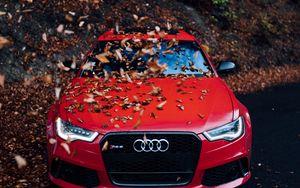 Preview wallpaper audi, car, front view, red, bumper, foliage, autumn