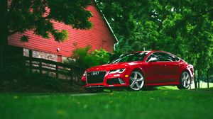 Preview wallpaper audi, rs7, red, grass, side view